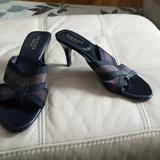 Gucci Shoes | New Gucci Brownblack Canvas Sandal W Leather Heel | Color: Black/Brown | Size: 7.5