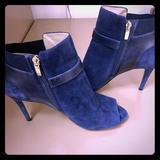 Nine West Shoes | Blue Suede Peep Toe Booties | Color: Blue | Size: 9.5