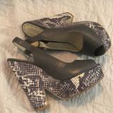 Nine West Shoes | Like-New Nine West Snakeskin Peep-Toe Wedges | Color: Gray/White | Size: 6