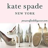 Kate Spade Shoes | New Kate Spade Ivory Satin Glitter Heel Pumps | Color: Red | Size: Various