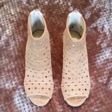 Michael Kors Shoes | Michael Kors Wedge, Suede, Peep-Toe Bootie Size 10 | Color: Brown/Tan | Size: 10