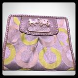 Coach Bags | Coach Wallet Id Holder Slim Silver Logo Leather | Color: Gray/Green | Size: Os