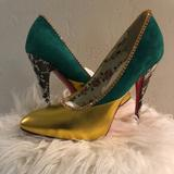 Gucci Shoes   Gucci 110mm Peachy Leather And Suede Pump   Color: Green/Yellow   Size: 9