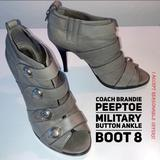 Coach Shoes   Coach Brandie Peeptoe Military Button Ankle Boot 8   Color: Gray/Silver   Size: 8