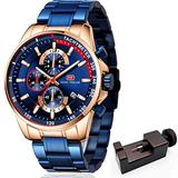 MINI FOCUS Mens Chronograph Stainless Steel Waterproof Date Quartz Watch Business Casual Fashion Wrist Watches Blue Gold MF0218