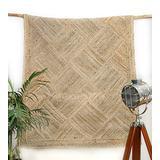 DINIJ Jute Area Rugs 5'x8' Handmade Braided Farmhouse Rug / Bedroom Rug Geometric Diamond Boho Classic Carpet
