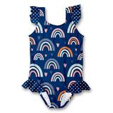 Millie Loves Lily Girls' One Piece Swimsuits - Navy Rainbow Ruffle-Accent One-Piece - Infant, Toddler & Girls