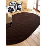 Better Trends Chenille Solid Braid Collection Reversible Indoor Area Utility Rug in Vibrant Colors, by Better Trends in Chestnut (Size 96X120 OVAL)