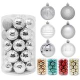 """Joiedomi 34 Pcs Christmas Ball Ornaments, Shatterproof Christmas Ornaments for Holidays, Party Decoration, Tree Ornaments, and Special Events (Silver, 2.36"""")"""