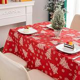 """GlowingSun Red Christmas Dining Table Cloth for Xmas New Year Season Home Table Christmas Decoration 60 x 87"""", Red Tree and Snowflake."""