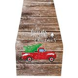 """Christmas Red Truck Table Runner-Cotton Linen-Winter Dinner Scarf Décor,Long 90"""" Holiday Xmas Tree Dresser Scarves,Farmhouse Coffee/Dining Living Room Tablerunner-all Heart Come Home for Christmas"""