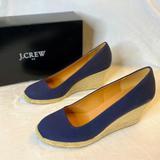 J. Crew Shoes | J. Crew Navy Blue Canvas Espadrille Wedges | Color: Blue | Size: 10
