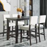 Red Barrel Studio® Black 5 - Piece Counter Height Dining SetWood/Metal/Upholstered Chairs in Black/Brown/Gray, Size 36.3 H x 27.0 W x 52.0 D in