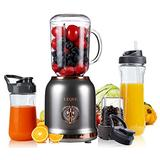 Smoothie Blender with 6 Sharp Blades, Personal Mini Blender for Shakes and Smoothies with 3 Adjustable Speeds, Blender for Kitchen with blending and grinding, BPA-free 3 Travel Cup&27oz Mason Cup