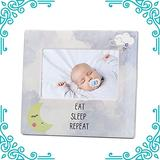 Baby Picture Frame - Eat Sleep Repeat Moon and Cloud New Baby Picture frame - Cute Nursery Frames for Babies - 4 X 6 Standard Photograph Opening