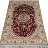 YILONG CARPET 4'x6' Hand Knotted Nain Persian Silk Rug Oriental Classic Medallion Red Hand Woven Living Room Carpet Y133C4x6