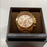 Michael Kors Accessories | Michael Kors Bradshaw Chronograph Two-Tone Watch | Color: Gold/Pink | Size: Os