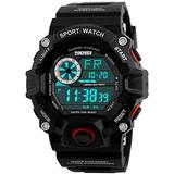 Men's Digital 50M Waterproof Electronic Sport Watch Rubber Band Army Military 24H Time LED Light 164FT Water Resistant Calendar Date Day Watches (F Red)
