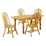 Sunset Trading Oak Selections 5 Piece Drop Leaf Extendable Dining Set With Keyhole Chairs - Sunset Trading DLU-TDX3472-124S-LO5PC