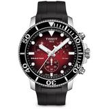 Seastar 1000 Blue - Dial & Black Rubber Strap Chronograph - Red - Tissot Watches