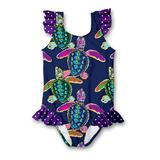 Millie Loves Lily Girls' One Piece Swimsuits - Navy Water Turtle Ruffle-Accent One-Piece - Infant, Toddler & Girls