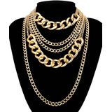 Streetregion Women's Necklaces Gold - Goldtone Curb Chain Layered Statement Necklace
