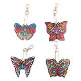 Yosunl Design Craft Kits multicolor - Butterflies DIY Rhinestone Painting Key Chain Kit
