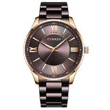 Watch Men Fashion Style Classic Quartz Watches Stainless Steel Band Male Clock Business Men's Wristwatches Dress Watch (Rose Gold Brown)