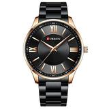 Watch Men Fashion Style Classic Quartz Watches Stainless Steel Band Male Clock Business Men's Wristwatches Dress Watch (Rose Gold Black)