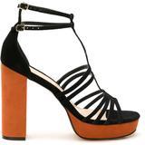 Strappy Suede Sandals - Black - EVA Heels