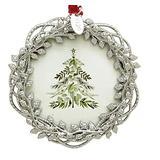 Silvertone Wreath Shaped Photo Frame Christmas Ornament Photo Metal