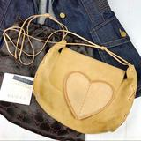 Gucci Bags   Gucci Suede Leather Heart Logo Cross Body Mini Bag   Color: Gold/Tan   Size: Os