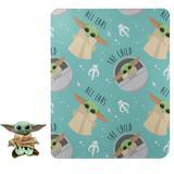 Disney Bedding | Baby Yoda Plush Pillow & Throw Set | Color: Blue | Size: Throw 40x50 Hugger: 13.5 Tall, 10.5 Sitting