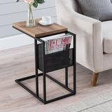 17 Stories Flemming End Table w/ Storage Wood/Metal in Black/Brown, Size 22.0 H x 20.0 W x 12.0 D in | Wayfair 66464B3A29784EB8BFFCA0183C9FB894