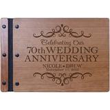 LifeSong Milestones Personalized Engraved 70Th Wedding Anniversary Wooden Guest Book Wood/Paper in Brown, Size 8.5 H x 11.0 W x 0.75 D in | Wayfair