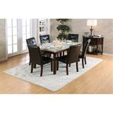 Red Barrel Studio® Bahrudin 7 - Piece Dining Set Wood/Upholstered Chairs in Black/Brown/Green, Size 30.5 H x 36.0 W x 60.0 D in | Wayfair