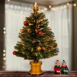 The Holiday Aisle® Fiber Optic Fir Artificial Christmas Tree w/ Multi-Color Light Metal in Green, Size 32.0 H x 20.0 W x 27.0 D in | Wayfair