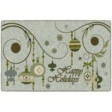 The Holiday Aisle® Decorative Holiday Ornaments Kitchen Mat Plastic in Gray, Size 0.3 H x 30.0 W x 46.0 D in   Wayfair
