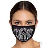 Leg Avenue Women's Rhinestone Fashionable Skull Black Face Mask
