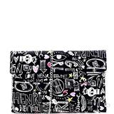 Retro Vintage Multicolor Colorful Graffiti Vegan Leather Tote Purse Handbag (Envelope Clutch - ZBlack)