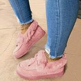 Women's Casual Fashion Flat Boots, Winter Snow Boots, Fur Warm Winter Durable Shoes Womens Snow Boots for Women (Pink,8.5)