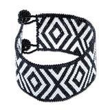 Glass beaded wristband bracelet, 'Black and White Diamonds'