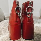 Zara Shoes | Red Patent Ankle Boots With Ring Pull At The Back | Color: Red | Size: 6.5