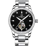 Women's Fashion Watch Lady Automatic Mechanical Hollow Stainless Steel Watch Diamond Skeleton Watches (Silver Black)