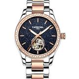 Women's Fashion Watch Lady Automatic Mechanical Hollow Stainless Steel Watch Diamond Skeleton Watches (Starry Sky/Rose Gold)