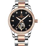 Women's Fashion Watch Lady Automatic Mechanical Hollow Stainless Steel Watch Diamond Skeleton Watches (Rose Gold Black)