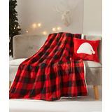 Dearfoams Throws Red/Black - Red & Black Plaid Throw & Santa Hat Throw Pillow