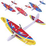 Electric Airplane Toys 4 Pcs Foam Glider Hand Throwing Foam Airplane Toys, Color Flying Glider Plane for Kids Outdoor Sport Toy, Family Flying Game Toy,Gift for Kids Teens, Random Pattern