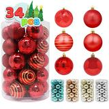 """Joiedomi 34 Pcs Christmas Ball Ornaments, Shatterproof Christmas Ornaments for Holidays, Party Decoration, Tree Ornaments, and Special Events (Red, 2.36"""")"""