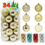 """Joiedomi 34 Pcs Christmas Ball Ornaments, Shatterproof Christmas Ornaments for Holidays, Party Decoration, Tree Ornaments, and Special Events (Gold, 2.36"""")"""